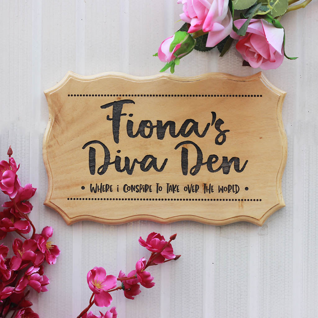 Custom Diva Den Sign for Girl's Room - Personalized Wooden Sign for Rooms by Woodgeek Store