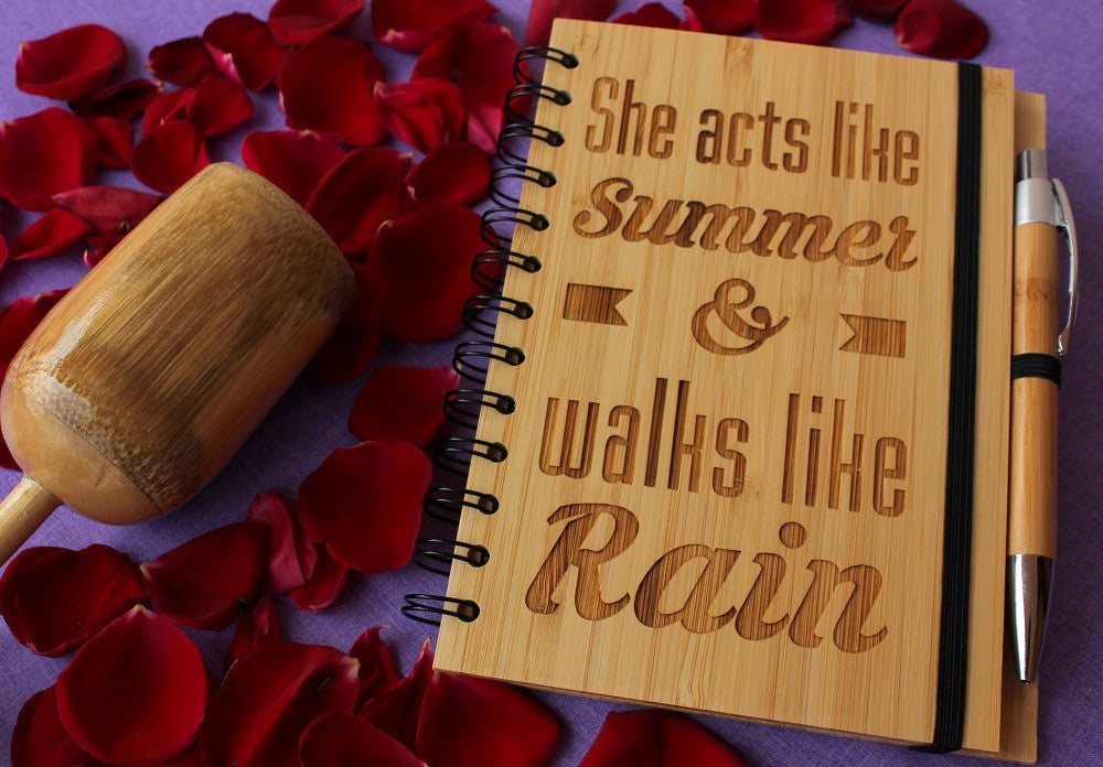 She walks like summer - Personalized bamboo wood notebook for women - Woodgeek Store