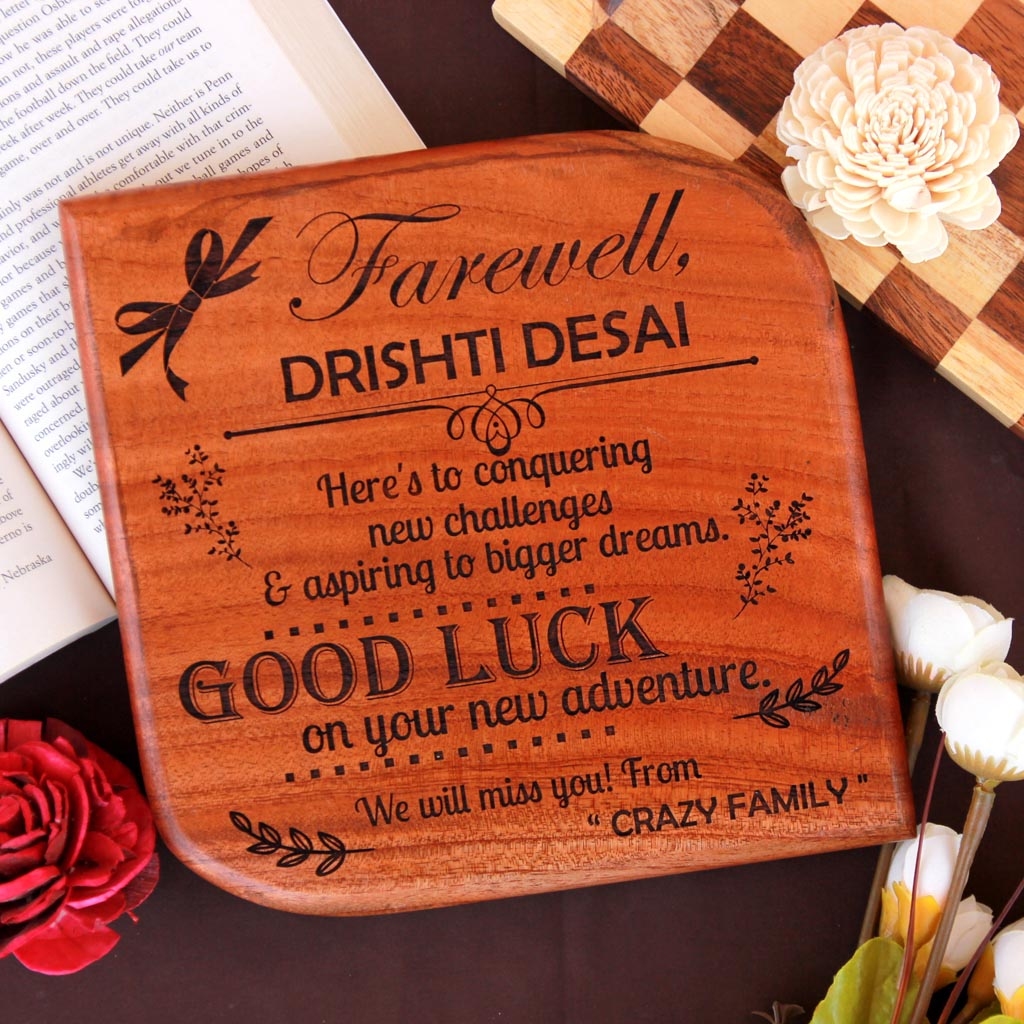 Farewell Wooden Award Plaque - This award plaques makes a great goodbye gift for boss or colleagues - These engraved plaques make great corporate awards.