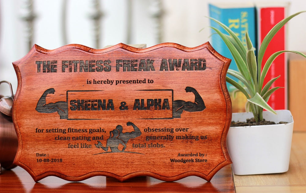 Gifts for Brothers - Gifts for Sisters - Rakhi Gifts - Personalised Gifts - Funny Awards Certificate - The Fitness Freak Award - Woodgeek Store