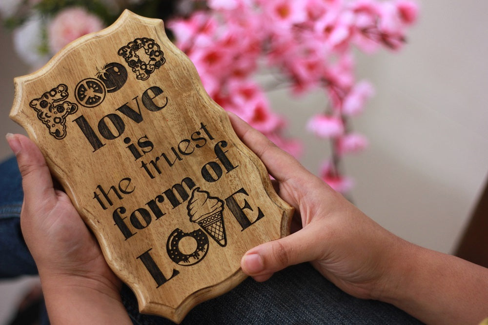 Food is the truest form of love wood sign - Wood carved sign - wooden plaques - wooden house signs - rustic wood signs - cool birthday gifts - birthday gifts for friends -  best friend gifts - Gifts for Sagittarius - woodgeekstore