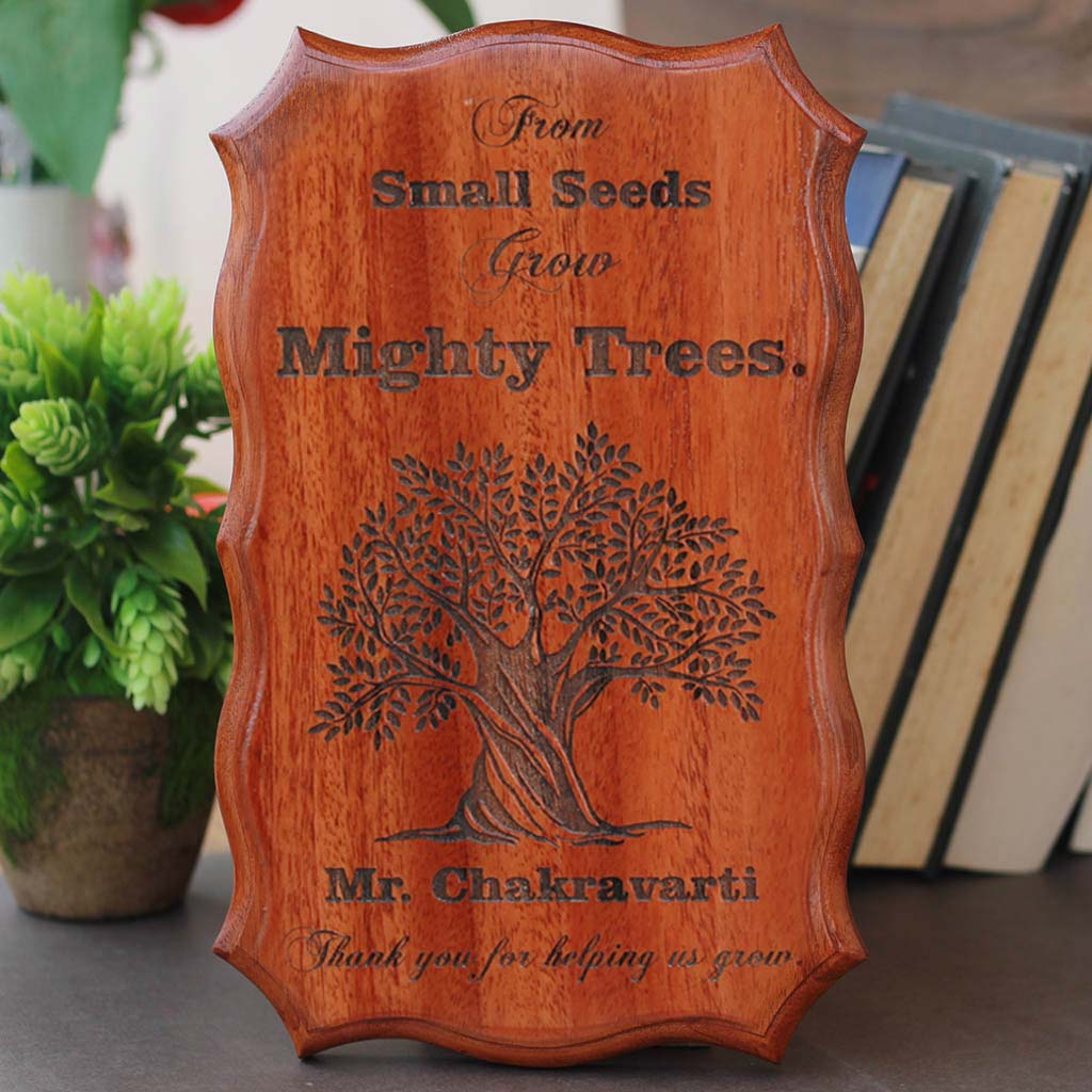 From Small Seeds Grow Mighty Trees - Custom Wood Sign - Personalised Teacher Gifts - Good Gifts for Teachers - Woodgeek Store