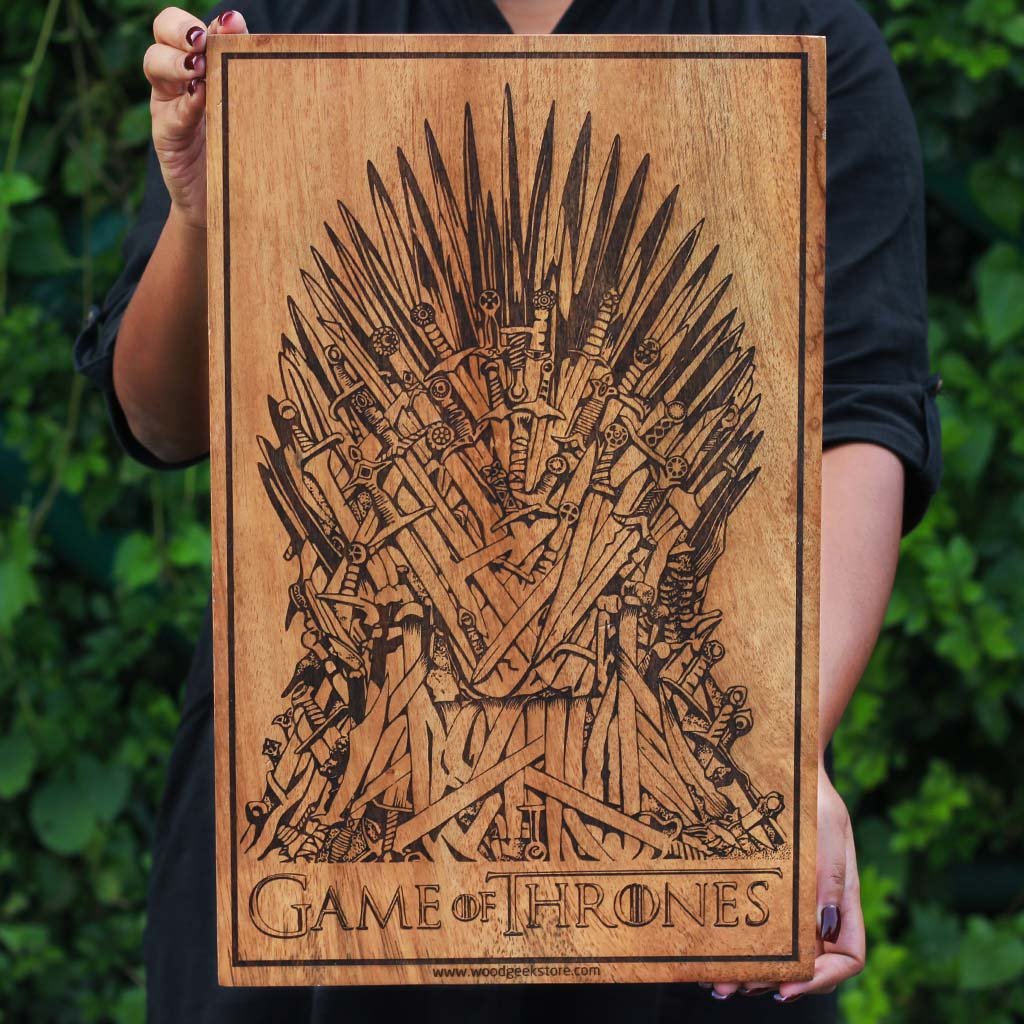 Game of Thrones Irone Throne Art Wood Art - Carved Wooden Poster by Woodgeek Store - Wood Wall Art Decor