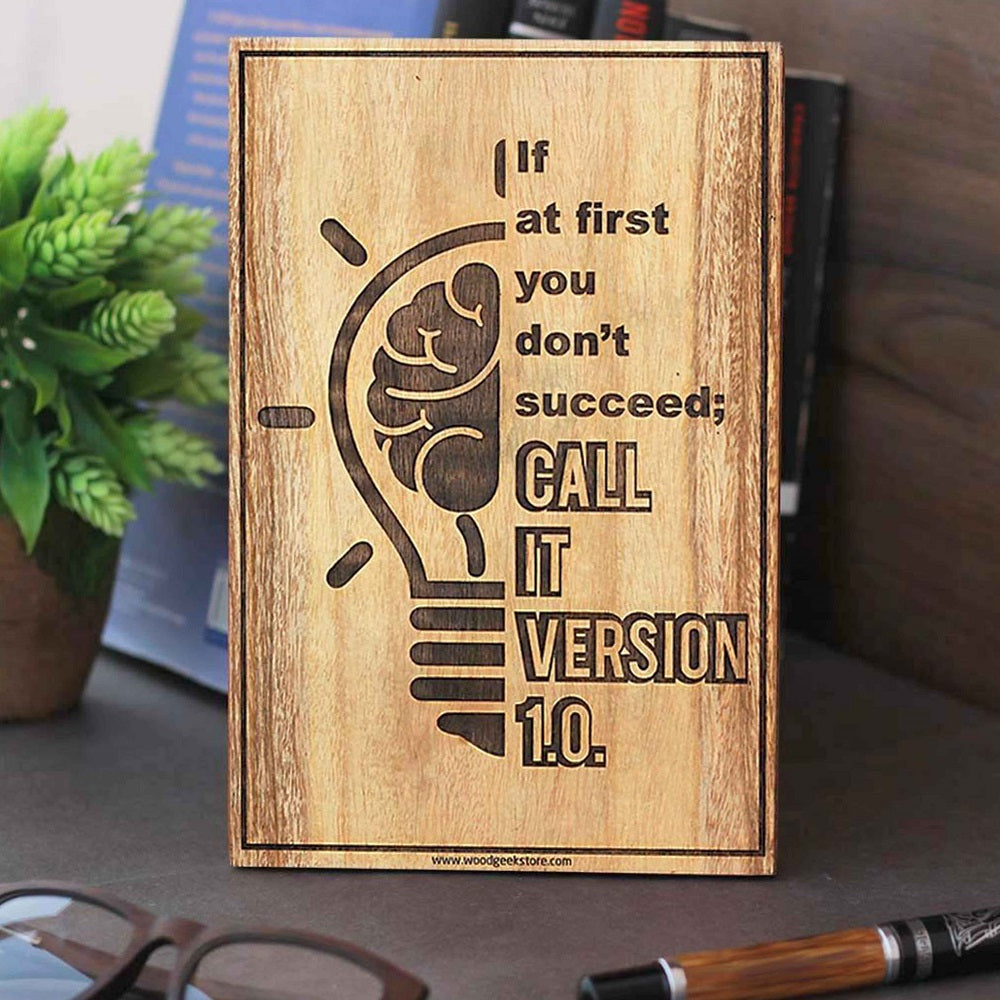 If you don't succeed,call it version 1.0 engraved wood sign - wood sign for coders - wood sign for home - inspirational wood signs - wooden plaques - Home signs made of wood - Gifts for friends - Gifts for coders - woodgeekstore