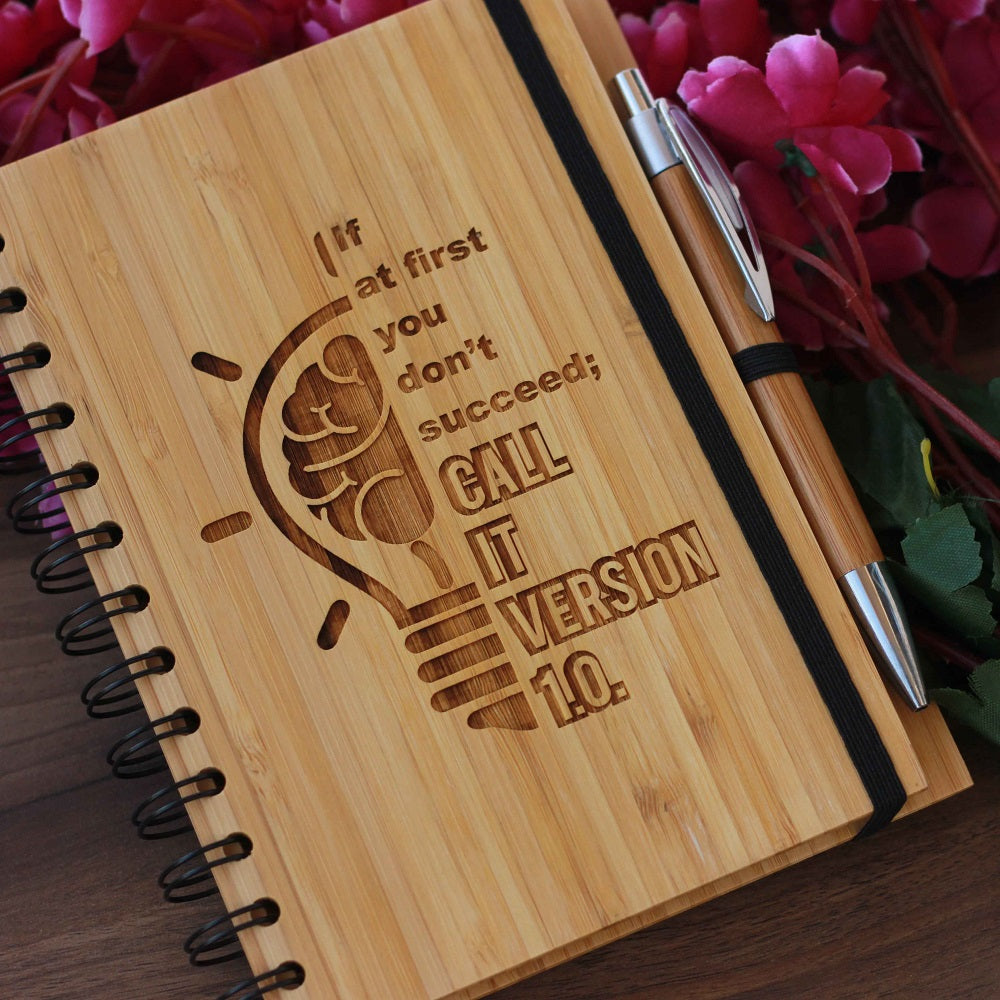 If You Don't Succeed, Call it Version 1.0 Bamboo Notebook - Inspirational Wooden notebook - Wooden notebooks - Gifts for friends - Notebook Journals - Wooden Journals - Wooden Products online - blank paper notebook - woodgeekstore