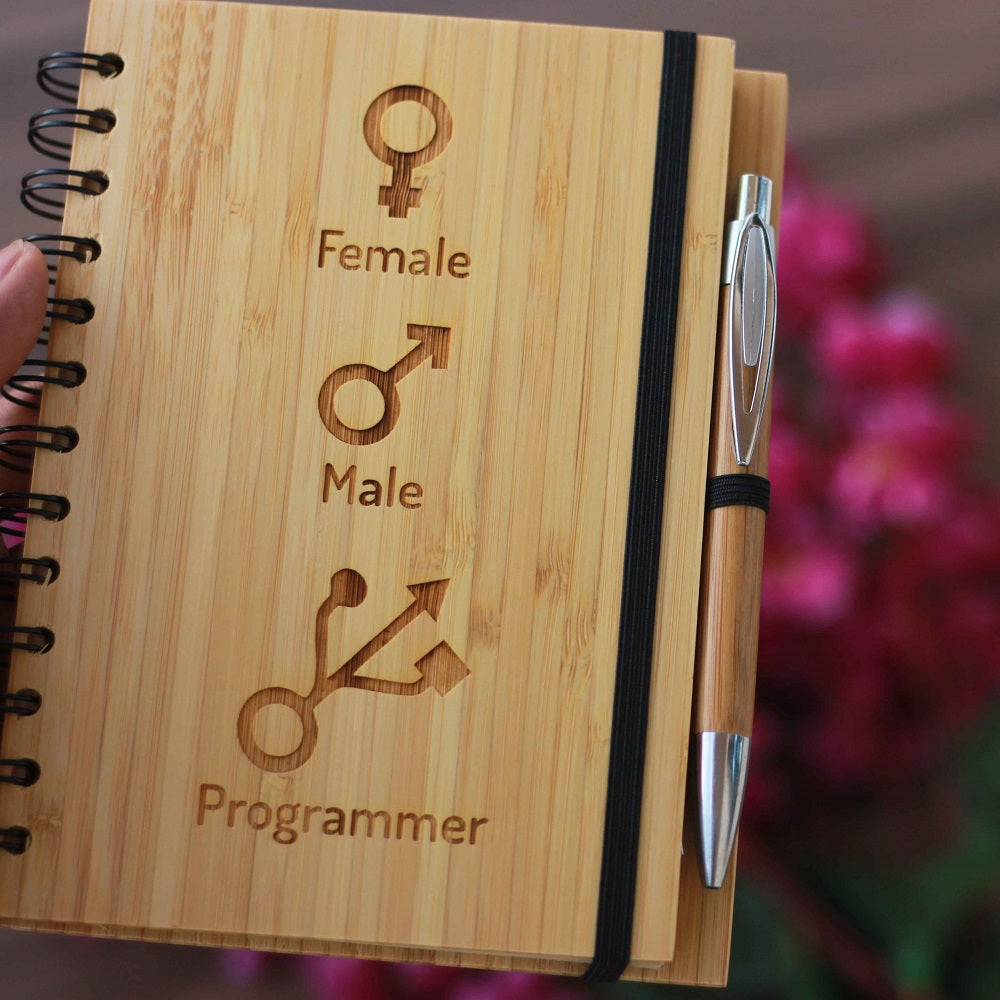 Male female programmer Wooden Notebook Journal - Notebooks for Programmers - programmer's notebook - programming notebook - gifts for computer nerd - woodgeekstore