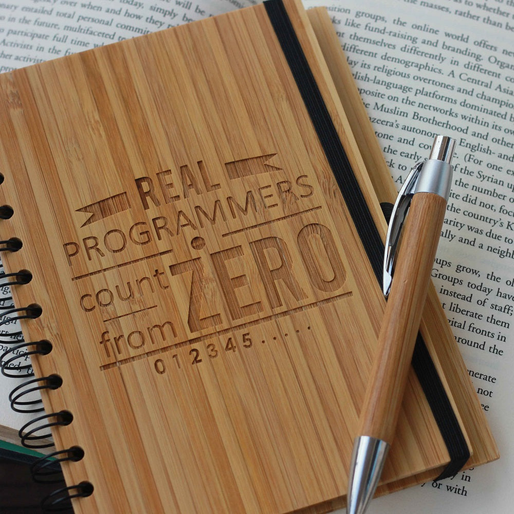 Real Programmers Count from Zero Wooden Notebook - Wood Bound Notebook  - Notebook Journals - Best Gift for coders - Unique gift ideas -  wooden products online - woodgeekstore