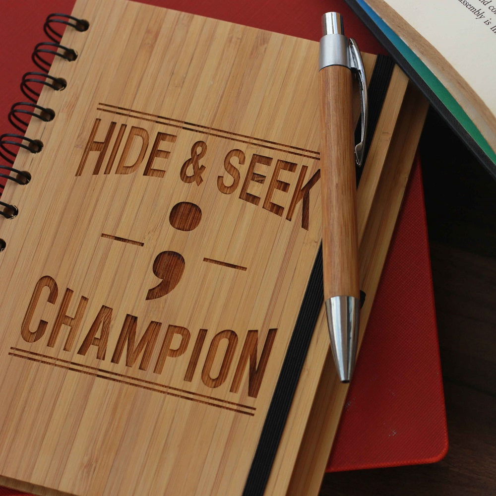 Semicolon: Hide & Seek Champion Wooden notebook - Gifts for coders - notebook journals - bamboo notebooks - wood bound notebooks - engraved stationary - products of wood - unique gift ideas - Birthday gifts for friends - woodgeekstore