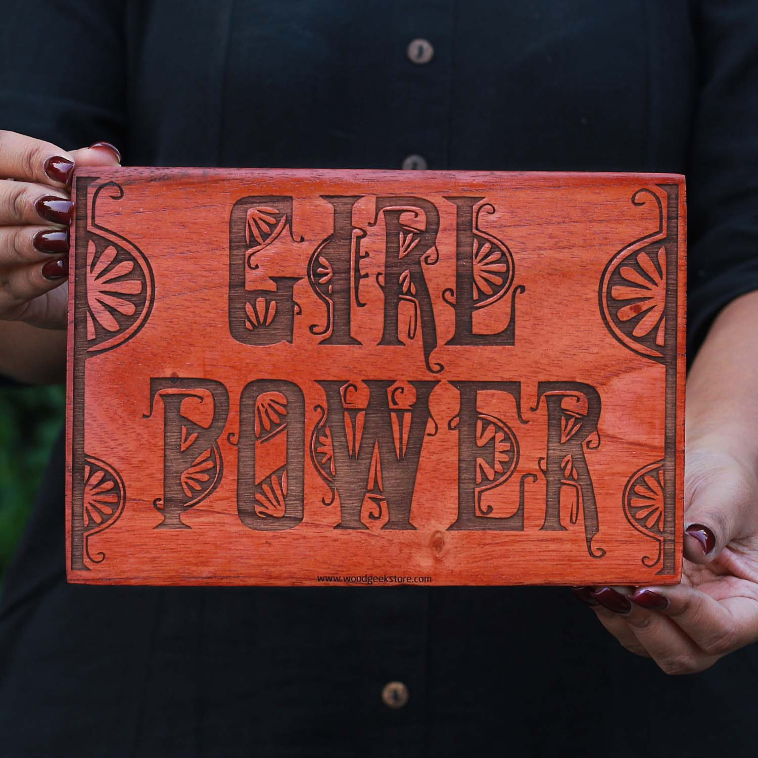 Girl Power Carved Wooden Poster - Wood Wall Art Decor by Woodgeek Store