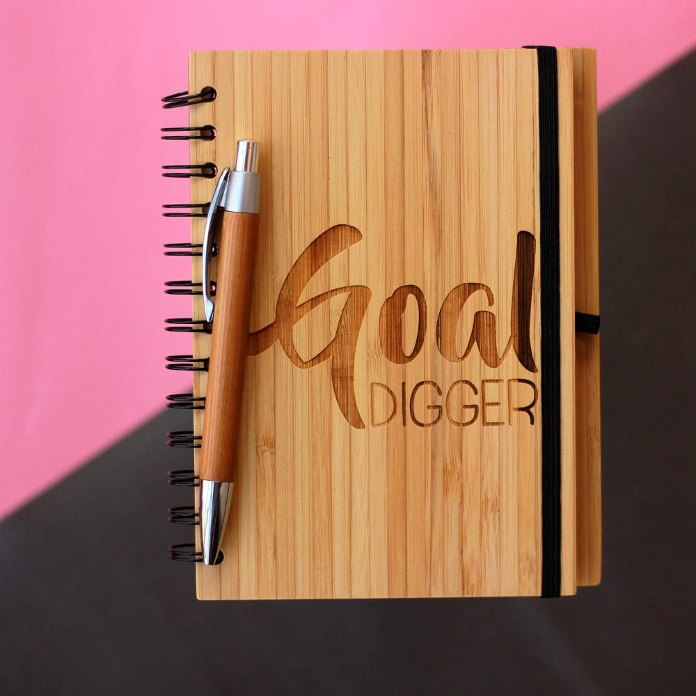 A Goal Digger Notebook To List Down Your Goals. A Custom Engraved Wooden Notebook For List Making.