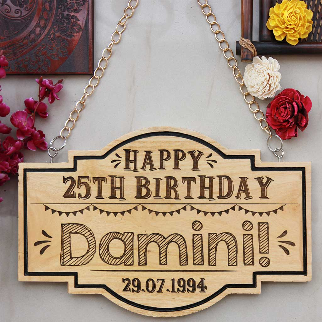 Happy Birthday Sign For Birthday Decoration. This Personalised Birthday Hanging Sign  Makes Fun Birthday Gifts For Friends. This Is The Best Gift Ideas for Friends.