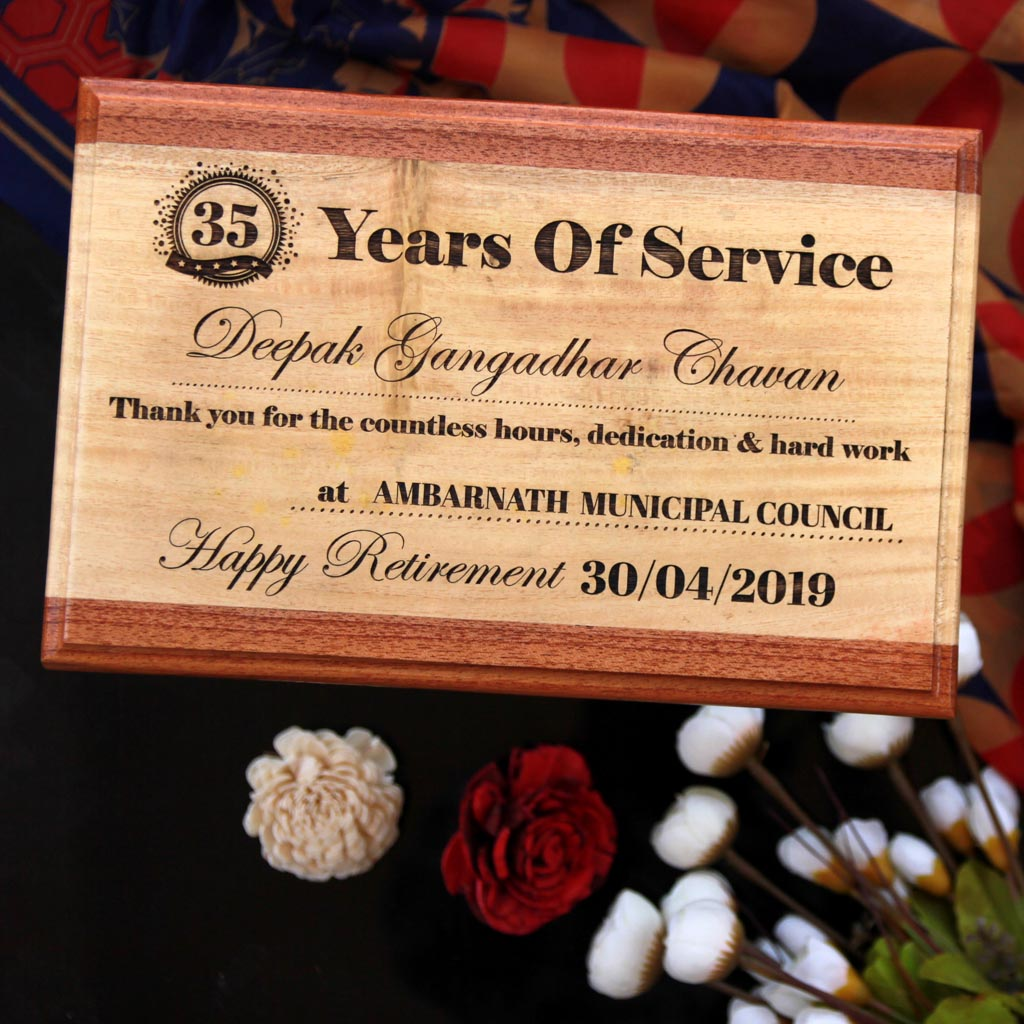 Happy Retirement Wooden Award Plaque - This personalized award plaque makes the best farewell gift for boss - Shop the best trophies and awards online from The Woodgeek Store