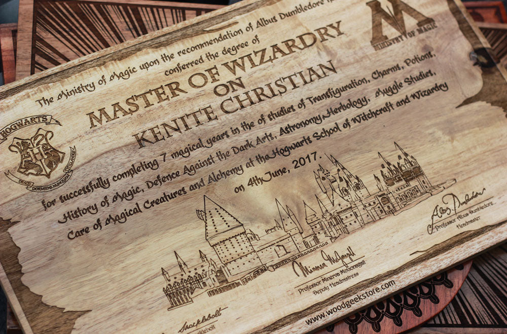 The best harry potter gifts for potterheads woodgeekstore hogwarts graduation letter carved wooden poster negle Choice Image
