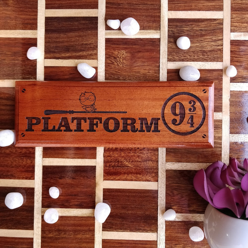 Harry Potter Platform 9 3/4 Sign - Hogwarts Express Wood Sign - Custom Room Signs - Wood Wall Decor - Home Decor - Door Name plates - Harry potter name plate - Woodgeekstore