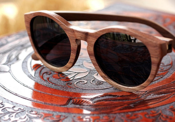 The Hipster Round Sunglasses - Wooden Personalised Sunglasses - Woodgeek Store