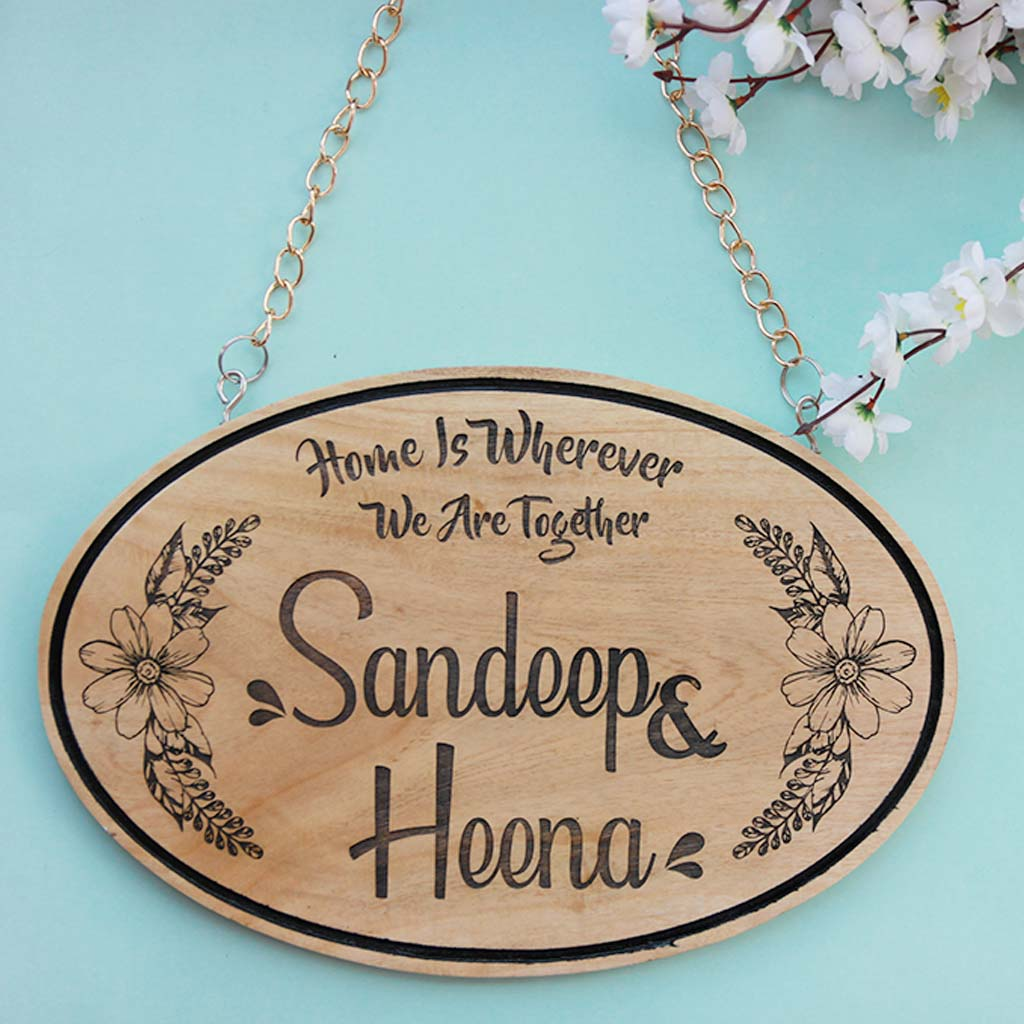 Home Is Wherever We Are Together Wood Engraved Sign - Personalized Wood Signs - Wooden Signs For Home - Family Name Signs - Custom Carved Wood Signs - Best Family Gift Ideas - Family Wall Hanging - Family Sign Wall Decor - Woodgeek Store