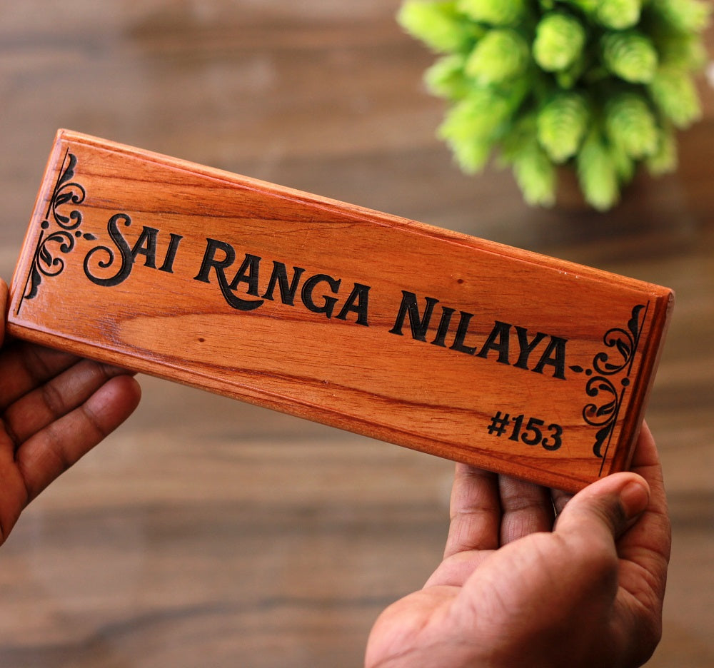 Custom Engraved Wooden Nameplates for Home - Unique House Nameplates - Wooden Name Signs by Woodgeek Store