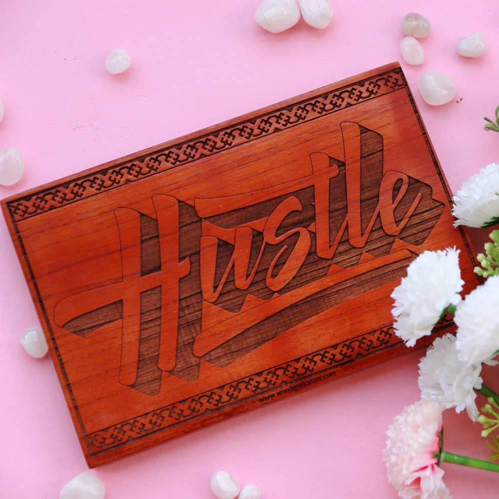 Hustle Wood Sign - Motivational Wooden Signs - Gifts for Capricorn Friends - Capricorn Birthday Gifts - Wooden Wall Signs - Gift Ideas For Friends - Woodgeek Store