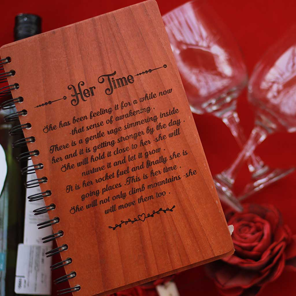 Customized Notebook for Mother - Looking For Personalized Mother's Day Gifts? Buy Custom Wood Journal As A Gift For Mom From The Woodgeek Store