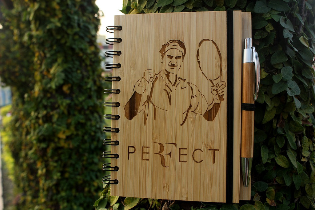 Buy custom engraved bamboo Roger Federer notebook for all tennis lovers - Woodgeek Store