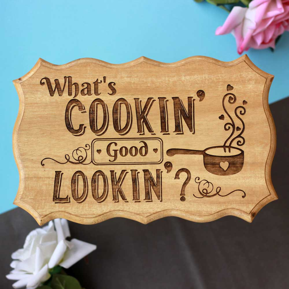 What's Cooking Good Looking Wooden Sign - Wooden Name Plaques - Engraved Wood Signs - Unique Wooden Gifts - Wooden Signs For Kitchen - Wood Wood Store - Wood Online - Wood Products - Woodgeek - Woodgeekstore