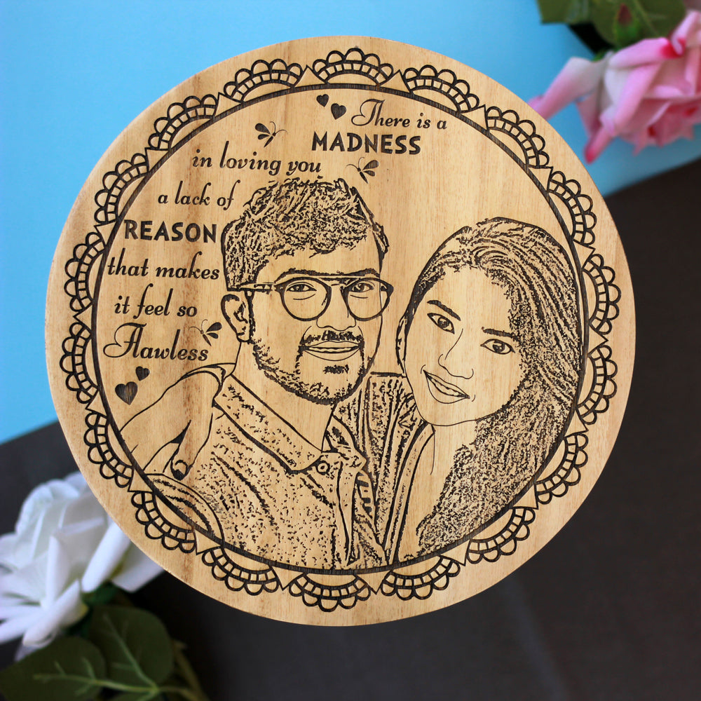 There Is A Madness In Loving You Personalized Wooden Circular Poster - Customized Circular Posters - Buy Posters Online - Present Ideas For Couples - Items Made From Wood - Couple Items - Woodgeek - Woodgeekstore