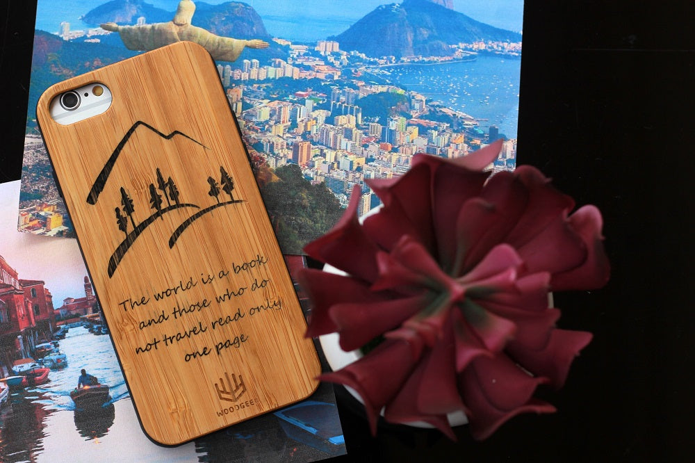 Wooden Phonecases custom engraved and personalized to your liking - Travel Phonecases by Woodgeek Store