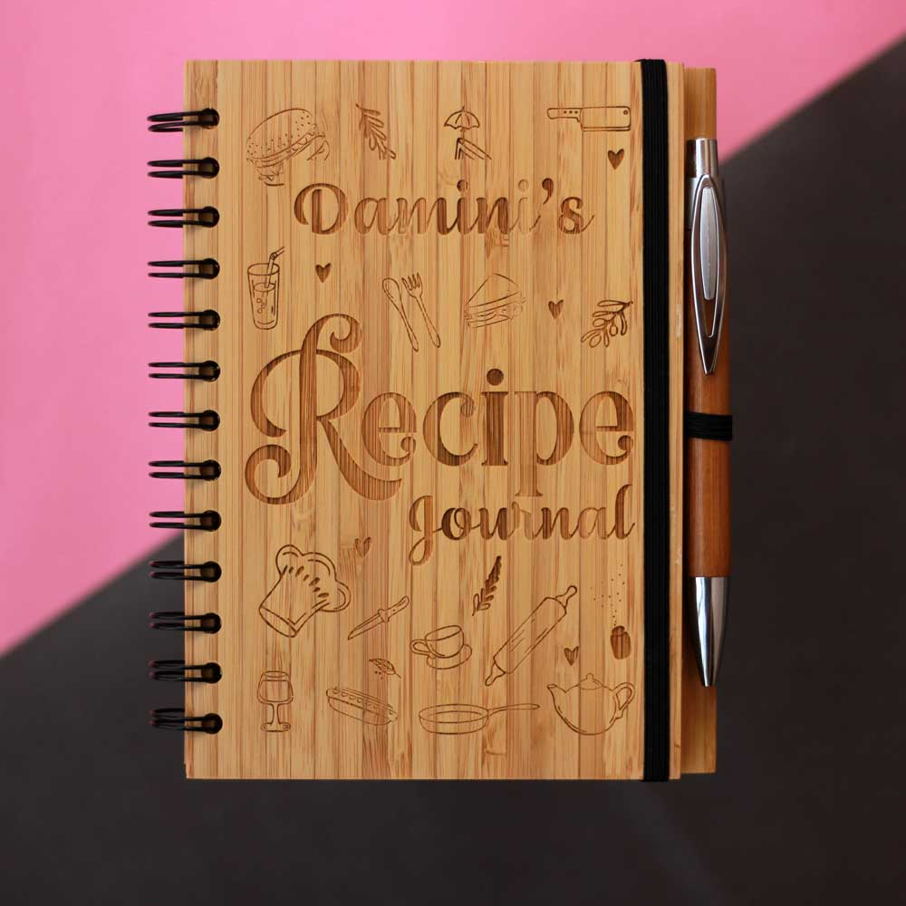Personalized Wooden Recipe Journal - Writing Wooden Notebook - Writer's Journal - Engraved Notebook - Unique Gifts - Small Wooden Products - Unique Custom Products - Wooden Products Online - Woodgeek - Woodgeekstore