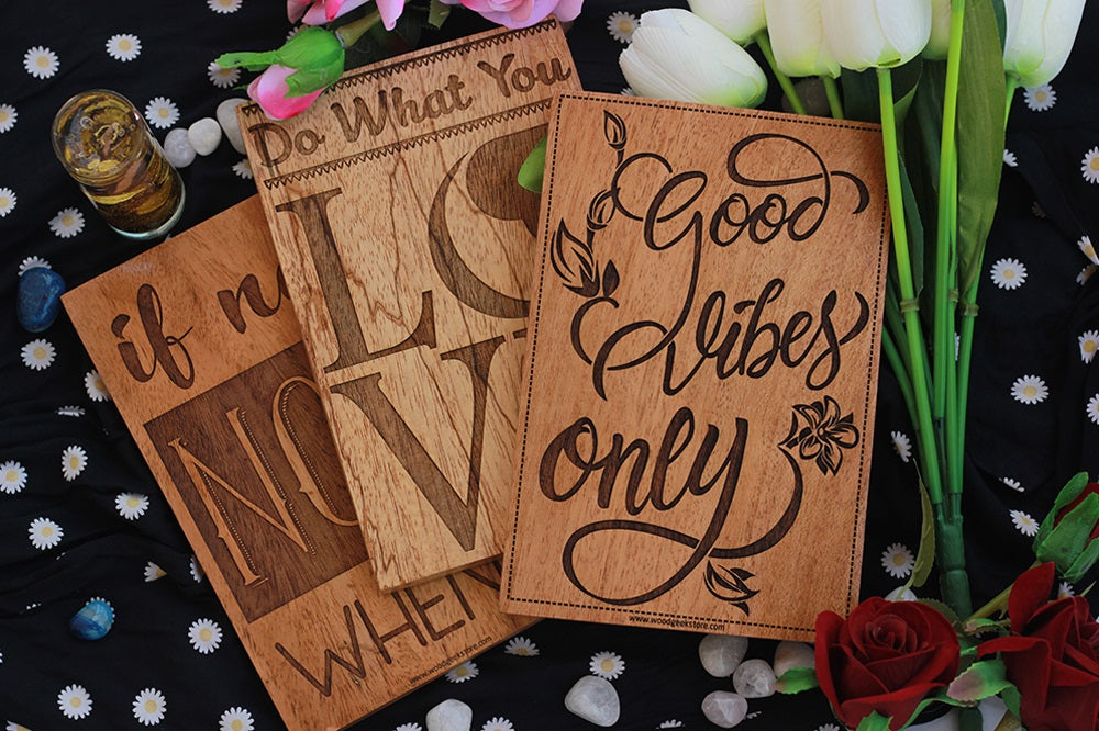 Good Vibes Only Inspirational Wood Signs for Home and Office by Woodgeek Store