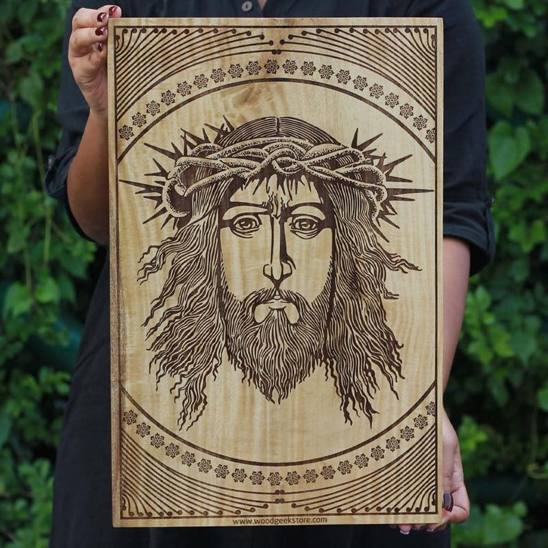 Wooden Poster - Jesus Wood Poster Online - Best Christmas Gift - Wood Art - Wall Posters Online - Carved Wooden Posters - Woodgeek - Woodgeekstore