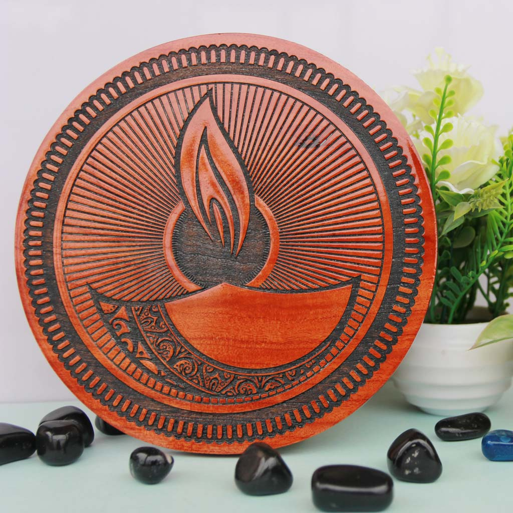 Diya Poster. This Wall Art Makes The Best Wood Wall Decor. This Personalized Poster Makes One Of The Best Ganesh Chaturthi Gifts Online.