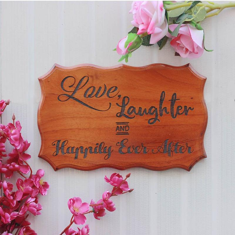 Love, Laughter And Happily Ever After Wooden Signs - Wood Carved Signs - Wooden Signs With Sayings - Wood Engraved Products - Home Decor - Wood Engraved Products - Wooden Items Online - Top Selling Woodworking Items - Woodgeek - Woodgeekstore