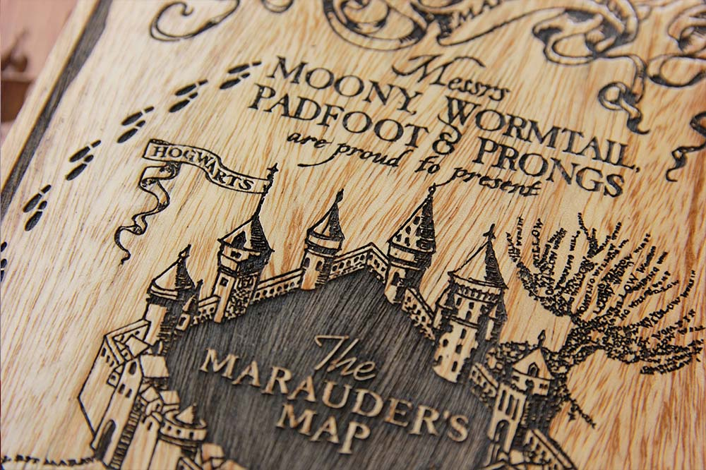Marauder's Map - Marauder's map poster - posters - wood poster - Harry Potter Posters - Harry Potter gifts - Harry Potter - Potterheads - Woodgeek Store ""