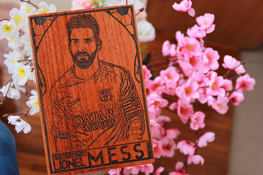 Messi Wooden Poster - wall poster online - messi poster - special birthday gifts - carved wooden posters - wooden products online - gifts for sagittarius - cool  gift ideas - woodgeekstore