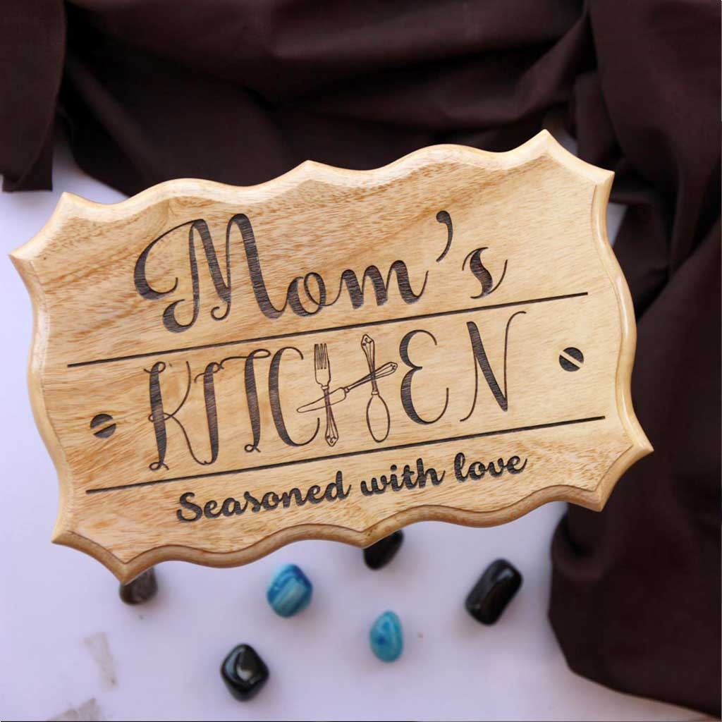 Personalized Mom's Kitchen Wooden Sign - This Wood Carved Sign Makes One Of The Best Gifts For Mums - Buy Unusual Mother's Day Gifts From The Woodgeek Store