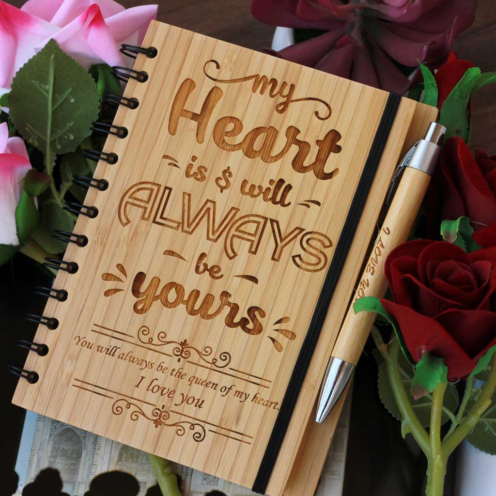 My Heart Is And Will Always Be Yours Notebook - Valentine's Day Gifts - The Best Notebooks For Creative People - Love Journal -  Wood Journals To Inspire Creativity - Art Journal - Writers Journal  - Best Romantic Gifts - Woodsite - Woodgeek Store