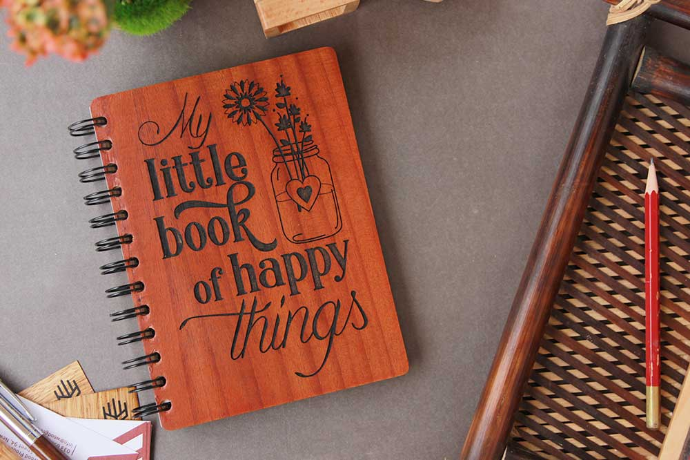 My Little Book Of Happy Things Notebook - Motivation Journal - Inspirational Journal - Custom Engraved Wooden Notebook