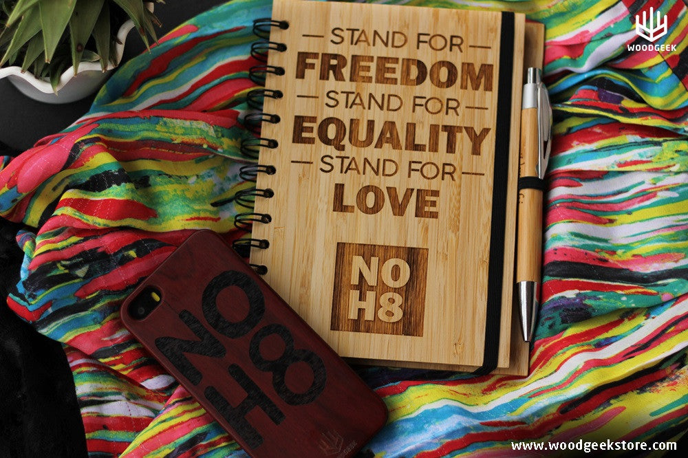 NOH8 Campaign - Equality for all - Gay Rights - LGBTQ Rights - Pride Colours - Wooden Notebook - Wooden Phone Case - Woodgeek Store