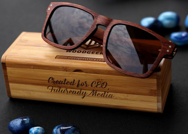 The Navigator Rectangle Sunglasses - Personalised Wooden Sunglasses - Woodgeek Store
