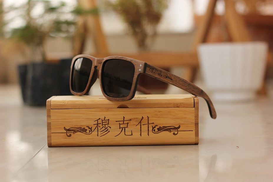 The Navigator Rectangle Sunglasses - Wooden Personalised Sunglasses - Woodgeek Store