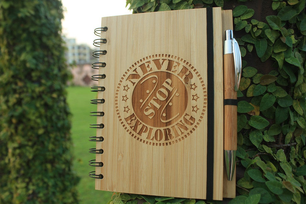 Never Stop Exploring - Wooden Travel Journal - Woodgeek Store