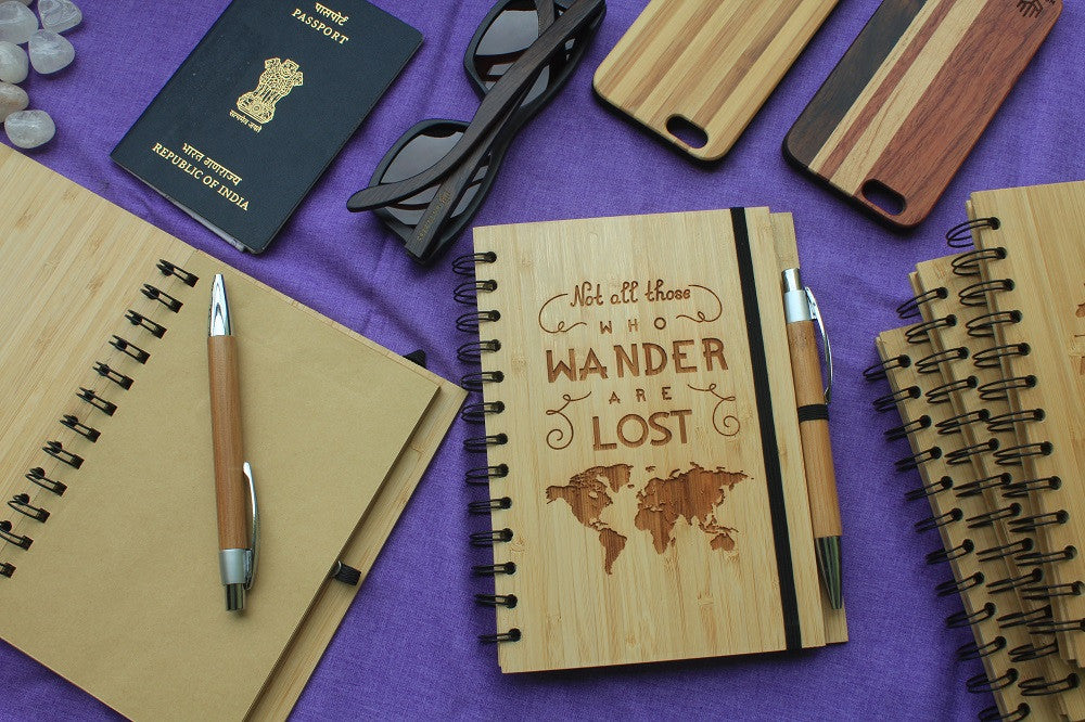 Not all those who wander are lost - Bamboo Travel Journal - Woodgeek Store
