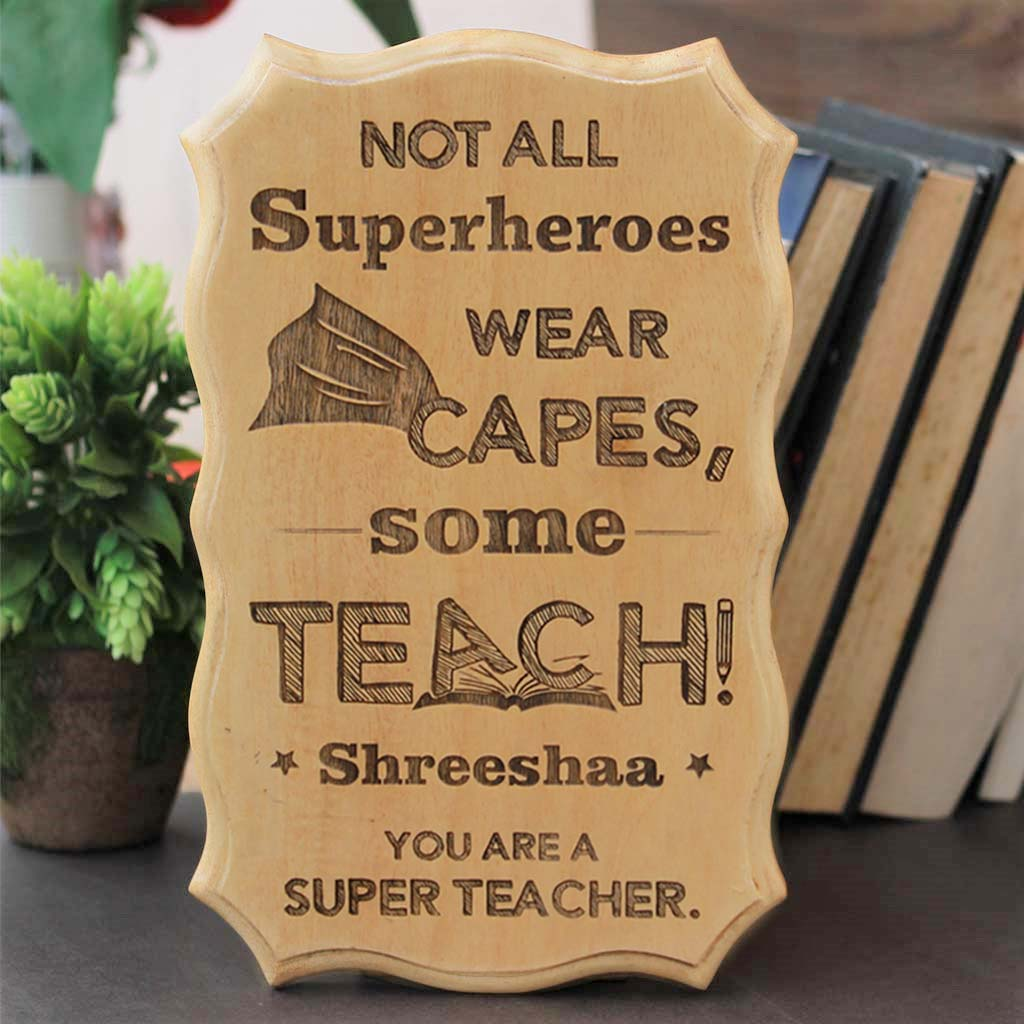 Unique End of Year Teacher Gifts Personalized Teacher Name Wood Sign 4-inch by 12-inch
