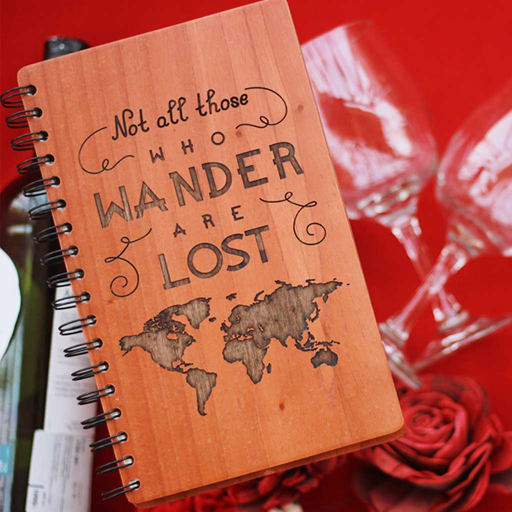 Not All Those Who Wander Are Lost Wooden Notebook - Gift Your Mom This Travel Journal As A Mother's Day Gift - Buy More Personalized Gifts For Mom From The Woodgeek Store