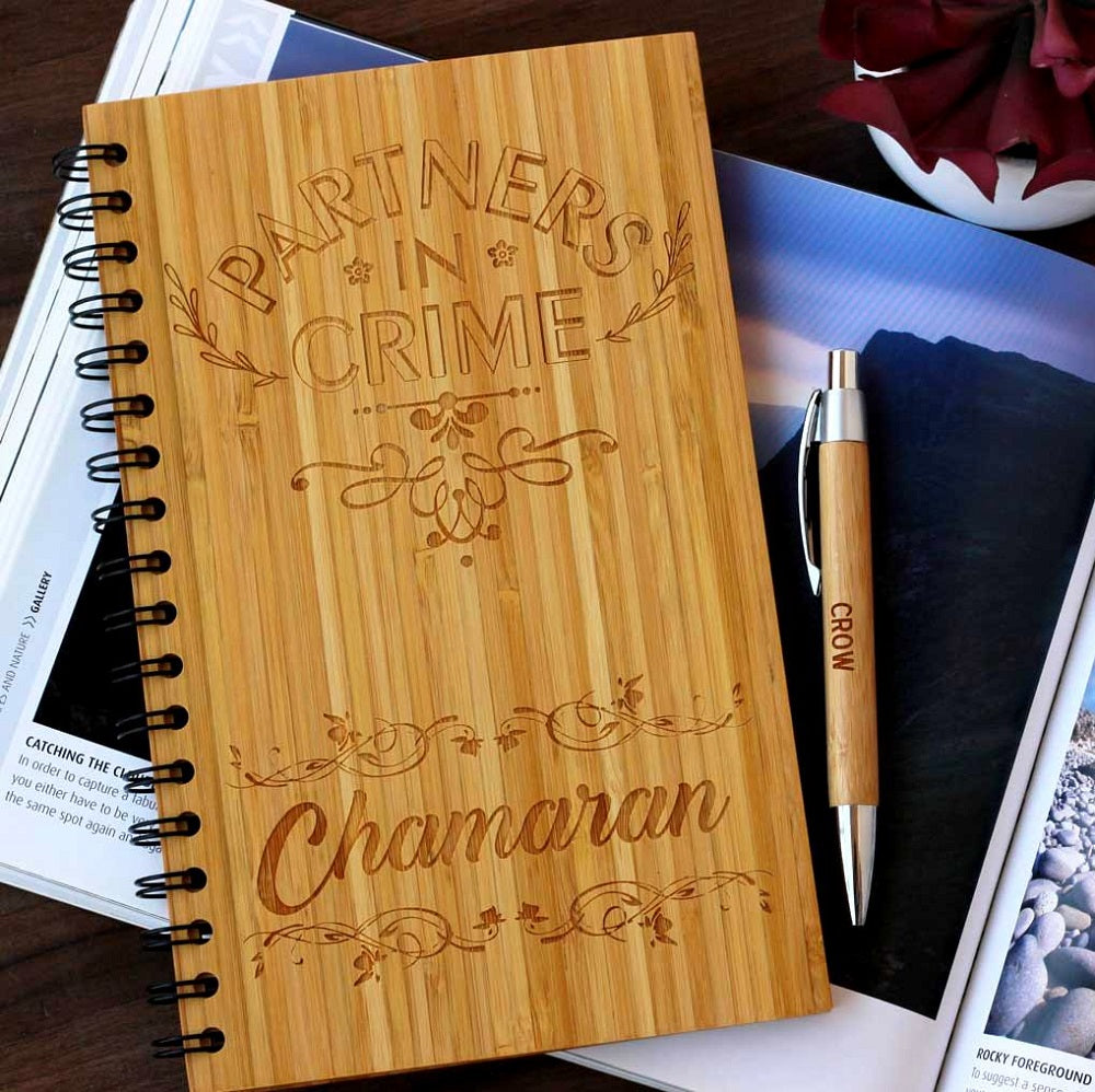 Partner in crime notebook for friends - Birthday Presents - Friendship Gifts - Birthday Gifts for Friends - Woodgeek store