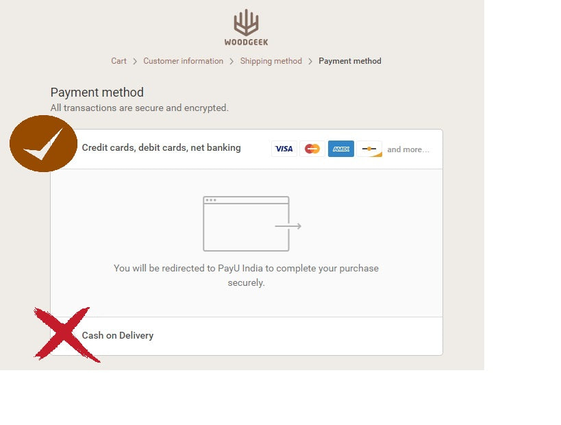 Payment process for customized orders- Woodgeek Store