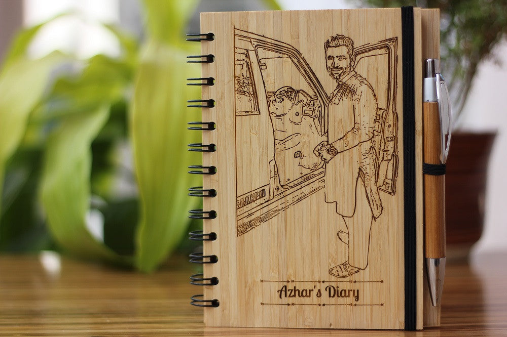 Custom wood personal diary - Customized Wooden Notebook - Woodgeek Store