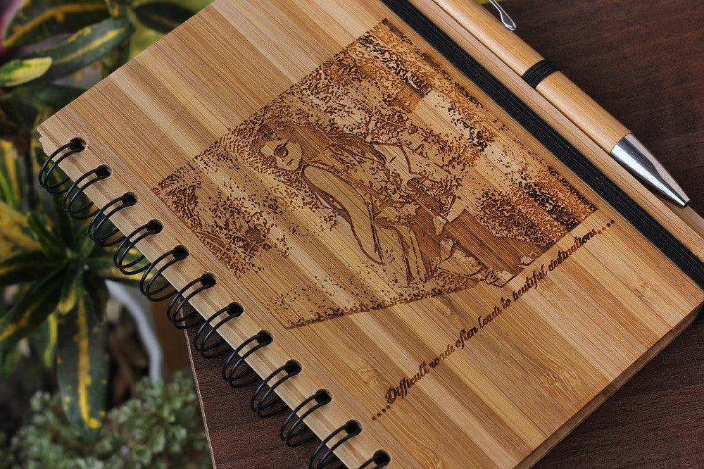 Personalised Wooden Travel Journal - Wood Journal - Woodgeek Store