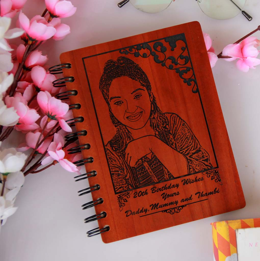 This Wood Engraved Photo On A Spiral Notebook with A Birthday Message Is The Best Birthday Gift For Sister. Looking for gifts for sister? This Photo On Wood Engraved On This Wooden Diary Notebook Is A Great Photo Gift.