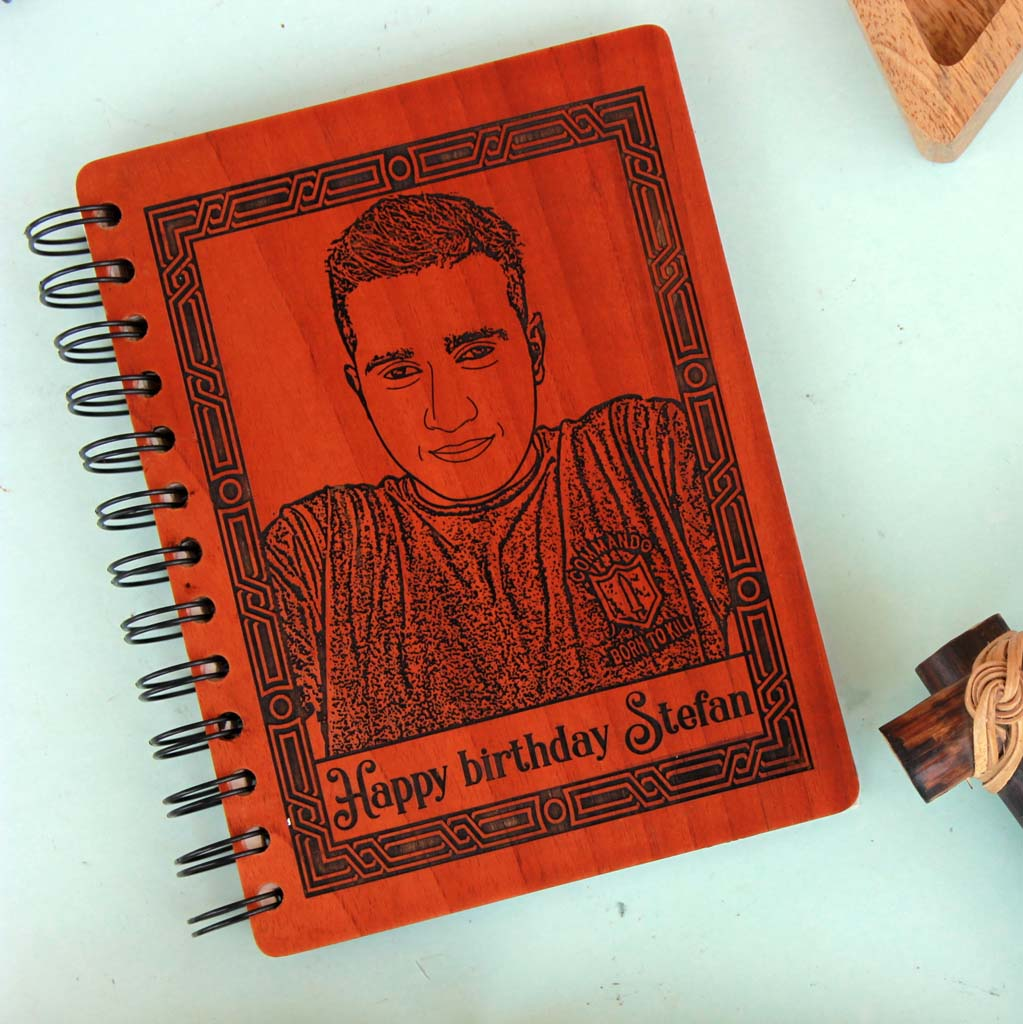 Personalised Happy Birthday Wooden Notebook With Photo On Wood. This Wood Engraved Photo Is One Of The Best Birthday Gifts For Men. This Journal Notebook Is One Of The Birthday Gifts For Men. Birthday Gifts For Him. Looking For Birthday Gift Ideas For Boyfriend? This Wooden Diary Is A Great Birthday Gift For Boyfriend. These Photo Gifts Make The Best Birthday Gifts For Men. This Makes Unique Birthday Gifts For Him.